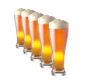 Lot of beer glass. Isolated Royalty Free Stock Images