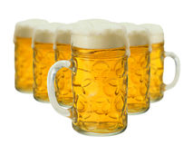 Lot of beer glass. Close-up, isolated over white Stock Photography