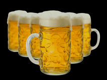 Lot of beer glass. Over black Stock Image