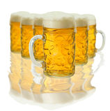 Lot of beer glass. With reflection Royalty Free Stock Image