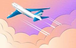 Lot biały pasażerski liniowiec Pozafioletowe nieba, słońca i cumulusu chmury, Skutek cięcie papier ilustracja wektor