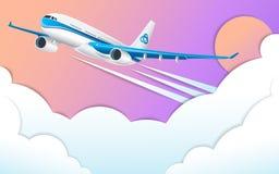 Lot biały pasażerski liniowiec Pozafioletowy niebo, słońce i białe cumulus chmury, Skutek cięcie papier ilustracja wektor