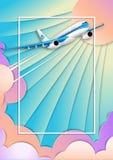 Lot biały pasażerski liniowiec ramowy tekstu ilustracyjny wektora Pozafioletowe nieba, słońca i cumulusu chmury, Skutek cięcie pa ilustracji