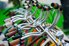 A lot of bicycle handlebars Royalty Free Stock Image