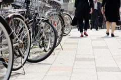 Lot of Bicycles parking. Bicycles parked on a street in Tokyo, Japan royalty free stock photos