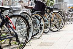Lot of Bicycles parking Stock Photography