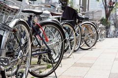 Lot of Bicycles parking Royalty Free Stock Images