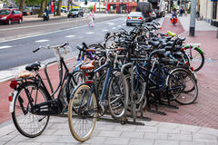 A lot of bicycles on street parking in Amsterdam Royalty Free Stock Images