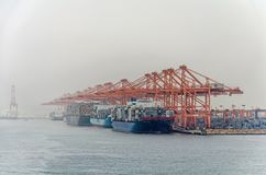 A lot of big container ships are loading cargo in the big port of Salalah stock photography
