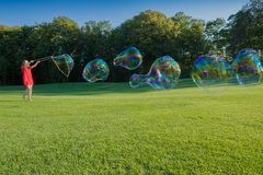 A lot of Big soap bubbles Royalty Free Stock Images