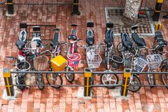 A lot of bike at bicycle parking in town. China royalty free stock photo