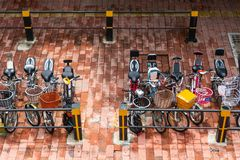 A lot of bike at bicycle parking in town. China royalty free stock image
