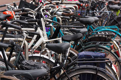 A lot of bikes on the bicycle parking Royalty Free Stock Images