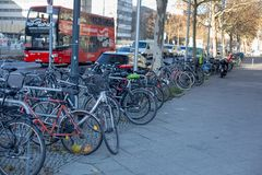 A lot of bikes parked on the sidewalk near the road. Berlin, Germany, December 2018. A lot of different bikes parked on the sidewalk near the road. Berlin royalty free stock photography