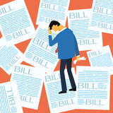 A lot of bill. Businessman stressed and worried with a lot of bill paper background, flat design stock illustration