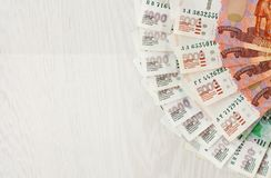 A lot of bills one and five thousand rubles fan and space for text. Close up royalty free stock photos