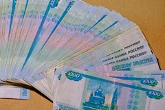 A lot of bills one thousand rubles as fan. Close-up royalty free stock image