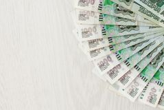 A lot of bills one thousand rubles fan and space for text. Close up royalty free stock photography