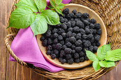 Lot of black raspberry in wooden bowl in basket Royalty Free Stock Images