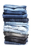 Lot of blue jeans Royalty Free Stock Photography