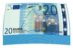 A lot of blue money. Packet of blue cash of 20 euro Stock Image