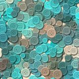 Lot of blue multi colored vintage clothing plastic buttons randomly scattered on the background - top view Royalty Free Stock Photography