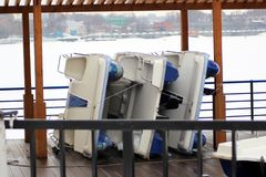 A lot of boats stacked for the winter royalty free stock images