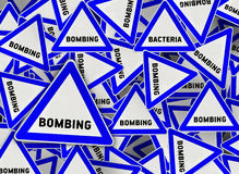 A lot of bombing triangle road sign. Close Stock Images