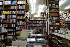 A lot of books in a bookshop. A lot of books on bookshelves, in a bookshop Royalty Free Stock Photo