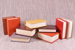 A lot of books on a linen background Stock Photos