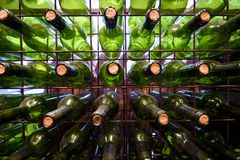 A lot of bottles. Partial view of a shelf full of bottles Stock Images
