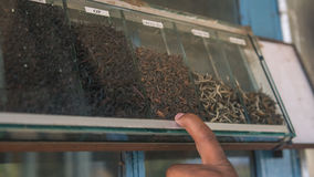 A lot of Boxes of black tea in the tea factory warehouse. Royalty Free Stock Photos
