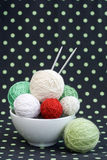 A lot of bright balls for knitting on a background Royalty Free Stock Images