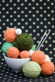 A lot of bright balls for knitting on a background Stock Image