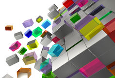A lot of bright and grey cubes 3D Stock Photography