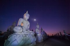 Buddha statues in twilight Stock Images