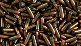 A lot of bullets. Background. A lot of pistol cartridges. Background. 3d illustration Royalty Free Stock Images