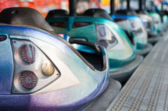 A lot of bumping cars. Parked bumping cars at the amusement park Royalty Free Stock Photography