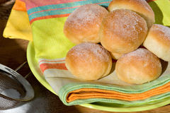 Lot of buns. On tablecloth Royalty Free Stock Images