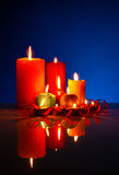 A lot of burning colorful candles Stock Image