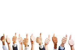 A lot of business hands holding thumbs up Royalty Free Stock Photo