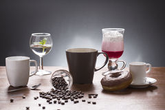 Lot of caffee lot of coffee variations on the plate Royalty Free Stock Photo
