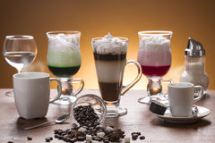 Lot of caffee lot of coffee variations on the plate Stock Image
