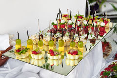 Lot of canape. Delicious appetizer close-up stock images