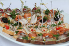 Canapes with skewers and sandwiches Stock Images