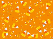 A lot of candy corns. Halloween background. Time for halloween! Orange background with a lot of candy corns. Halloween theme clean design Royalty Free Stock Image