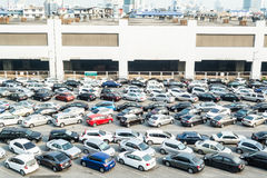 A lot of car parking at parking zone ,Thailand. A lot of car parking at parking zone near BTS station in Chatuchak district in Bangkok, Thailand royalty free stock photography