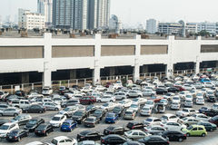 A lot of car parking at parking zone ,Thailand. A lot of car parking at parking zone near BTS station in Chatuchak district in Bangkok, Thailand royalty free stock image