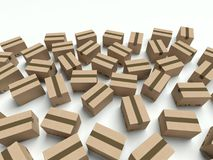 Lot of cardboard boxes lying on the ground Royalty Free Stock Photography