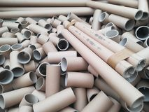 A lot of carton tubes for recycling Royalty Free Stock Photography
